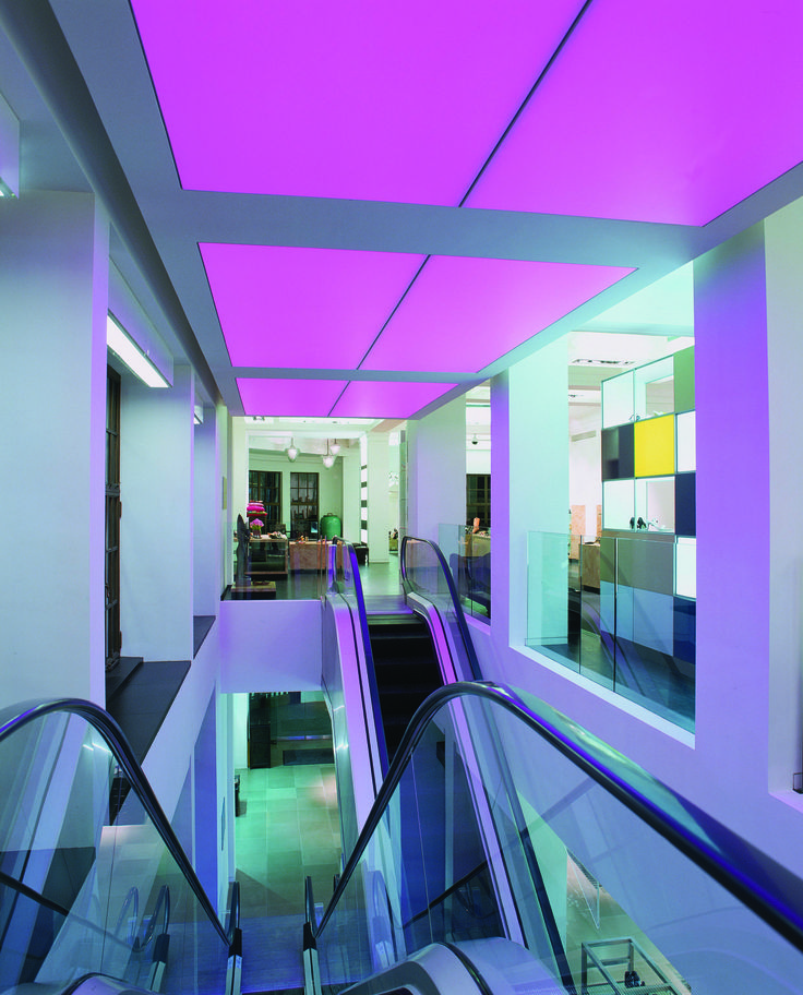london into lighting previously redesigned parts of the retail space including this colour changing