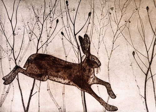 'Startled Hare' By Kerry buck.  Blank Art Cards by Green Pebble. www.greenpebble.co.uk