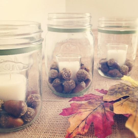 Fall Acorn Mason Jar Tealights - Fancy House Road: Houses Roads, Crafts Ideas, Fall Decor, Fall Crafts, Candles Jars, Falldecor, Acorn Mason, Mason Jars Candles, Diy
