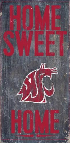 "Washington State Wazzu Wall Art. This Washington State wooden sign measures 6"""" x 12"""". This Washington State University Cougars WSU decoration is painted in team colors and includes a vintage distres"