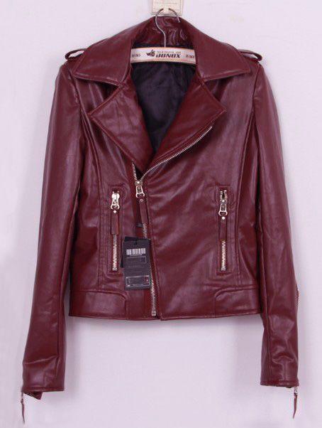 Wine Red Lapel Long Sleeve Zipper PU Leather Coat - Sheinside.com
