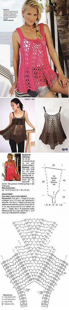 Summer crochet top... Musculosa que se va ampliando, forma de A