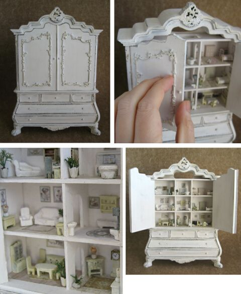 Great Inspiration!  1/12 scale - Beautiful cabinet with 9 dollhouse rooms