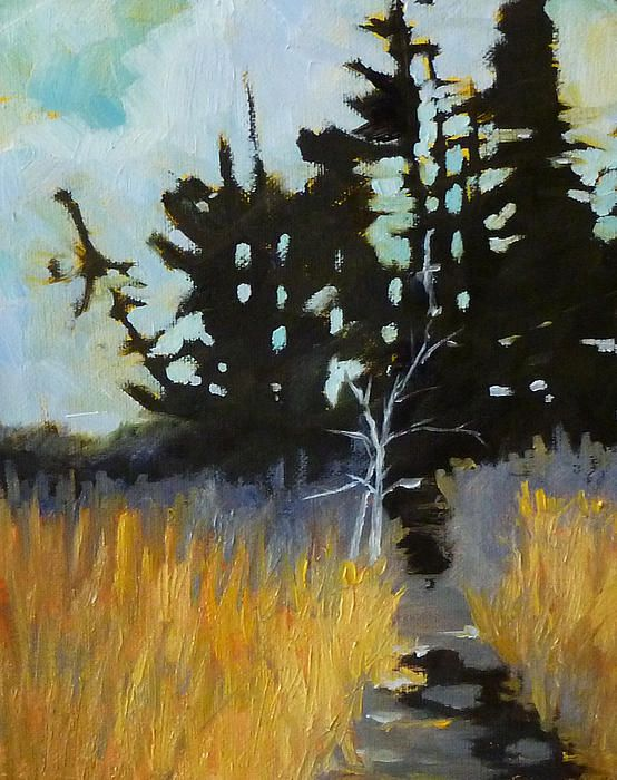 Hiking the Winter Trail Landscape Painting by Nancy Merkle; Original and Reproduction Fine Art For Sale