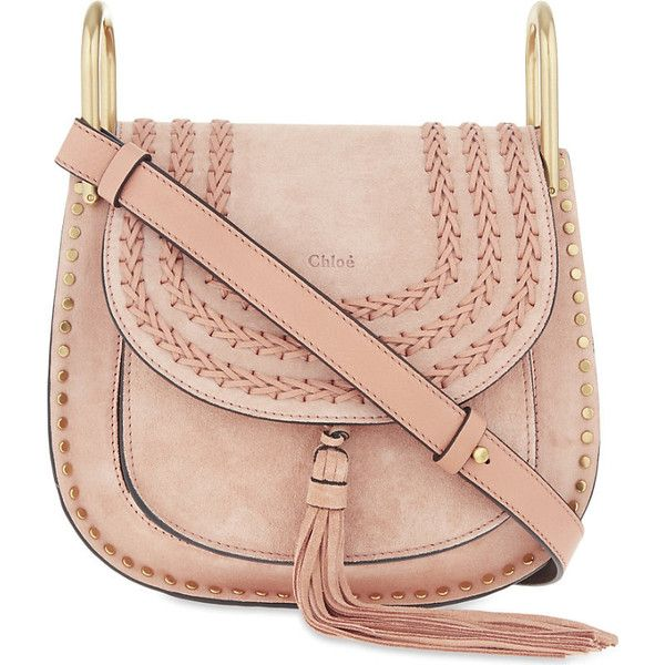 Chloe Hudson small suede cross-body bag ($1,345) ❤ liked on Polyvore featuring bags, handbags, shoulder bags, boho shoulder bag, chloe purses, pink shoulder bag, crossbody shoulder bags and chloe crossbody