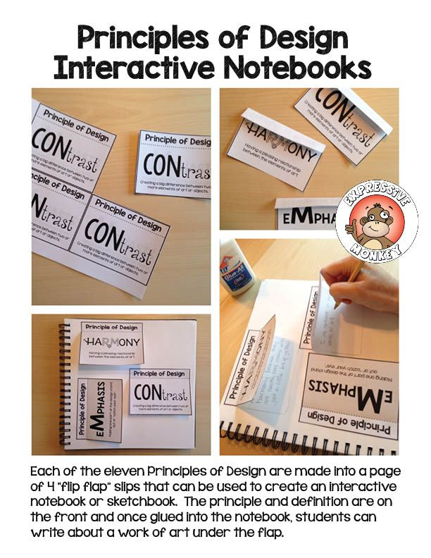 """Principles of Design on """"flip flaps"""" that can be glued into a sketchbook or interactive notebook.  Students can flip up the flap and write about a work of art using the principle on the flap.  Or they could write about how the word on the flap illustrates the meaning."""