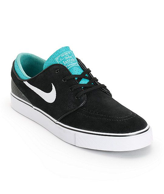 Get a unique look on a comfortable classic with the Nike SB Zoom Stefan Janoski skate shoe. A sleek black suede upper is contrasted by a turbo green leather collar with Nike Zoom Air insole with an air pocket to improve the comfort and impact support of t