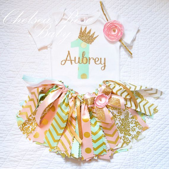 3 piece set Pink Mint and Gold Fabric tutu by ChelseaRoseBaby