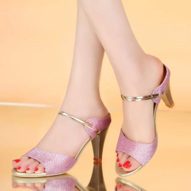 One word octopus mouth sandal small pepper Korean nightclub open-toed high-heeled women's thin Korean summer