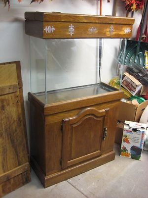 40 Gallon Aquarium Fish Tank with Oak Stand and Filter Nice Complete Set Up