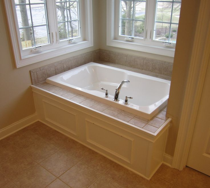 Master Bathtub Custom Paneled Front With Tile Tub Deck
