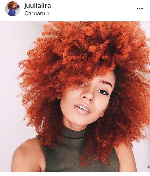 Julia Lira red orange Afro curly kinky natural hair