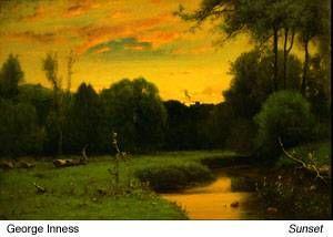 George Inness - Sunset - Hudson River school #art #artist #paintingstogo
