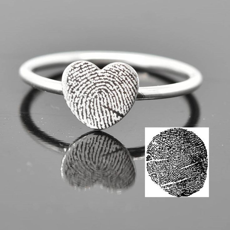 Fingerprint Ring, Fingerprint Jewelry, Stacking Ring, Heart Ring, Engraved Ring, Personalized Jewelry, Bridesmaid Gift, Best Friend by JubileJewel on Etsy