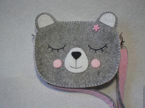 """Купить Сумочка из фетра """"Мишка"""" - серый, рисунок, сумочка из фетра, сумка из фетра, сумочка детская"""