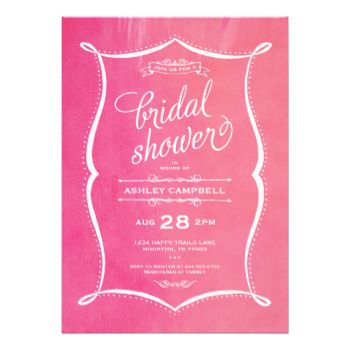 Elegant modern typography bridal shower invitation design with a mix of hand-written script and classic traditional serif fonts on a trendy ombre faux watercolor texture background with a cute illustrated hand drawn border and decorative chalk elements. Click the CUSTOMIZE IT button to customize fonts, move text around and create your own unique one-of-a-kind invitation design. #modern #typography #elegant #bridal #shower #modern #bridal #shower #invitations #wedding #bride #watercolor ...