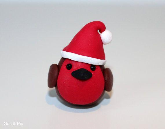 Cute little Christmas Robin Ornament/ Sculpture/ Cake Topper