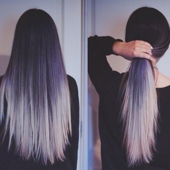 Purple to Silver Hairstyle for Long Straight Hair