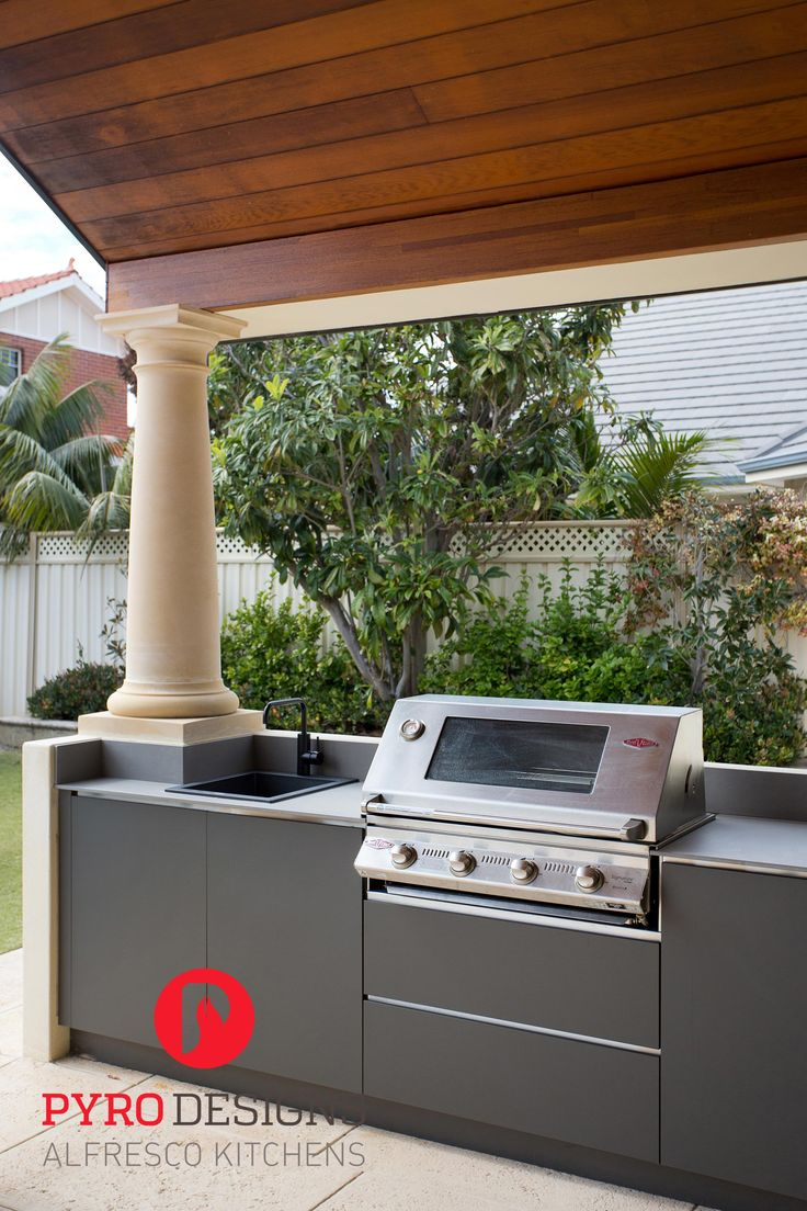 Alfresco kitchen with compact laminate from Laminex, Neolith bench tops and stainless steel negative detail
