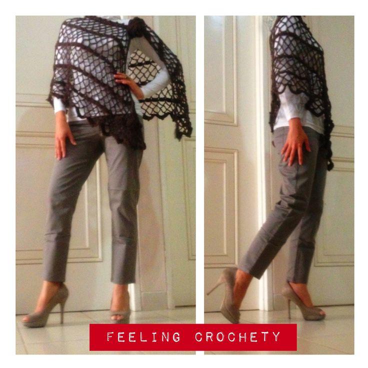 brown crochet poncho
