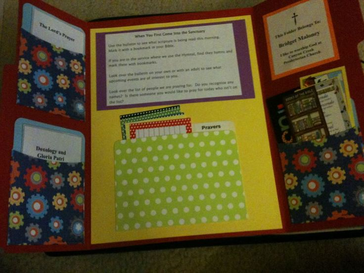 Lapbooks for worship bags. Make one during their worship preparation class with their parents. Provide new ones each month or for different seasons of the year that would have activities in it.