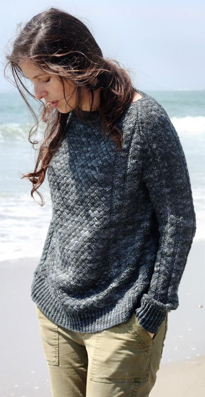Free knitting pattern for Jamestown Pullover sweater with basketweave cable texture and more free pullover sweater knitting patterns at http://intheloopknitting.com/long-sleeve-pullover-sweater-knitting-patterns/
