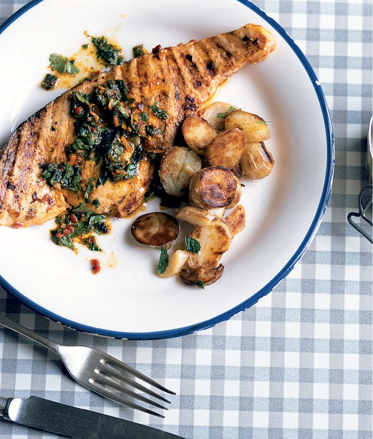 These swordfish steaks with chermoula are a great summer recipe, and work just as well baked as they do barbecued.