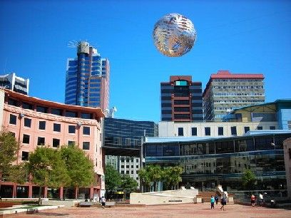 Civic Square, Wellington, New Zealand.  I love the fern ball sculpture!