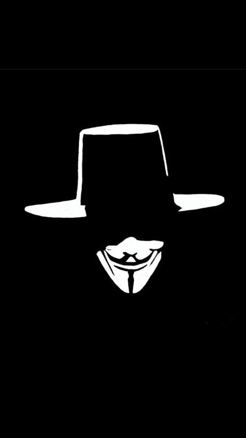 Anonymous Mask Wallpaper with Hat for iPhone 6 wallpaper #anonymousmask…
