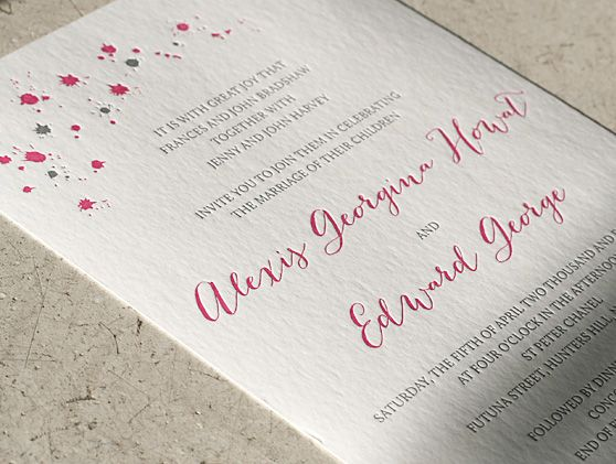 Letterpress wedding stationery. 'Celebration' design. Letterpress printed in hot pink and grey on our stunning cotton 300gsm paper. Custom lined envelopes. Handwritten script font for names.