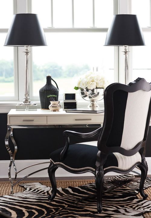 Black And White Office Jill Ann Bourgoine Home Design Decor