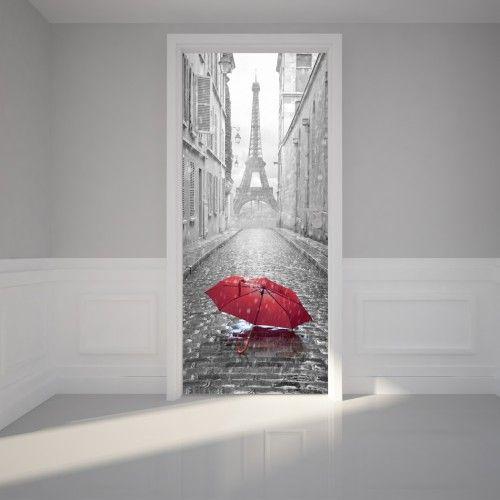 Door Mural Wall Sticker Eiffel view from the Romantic street