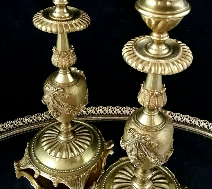 Brass Candlesticks Pair Victorian Candleholder Set Candelabra Candle Holders by OldGLoriEstateSale on Etsy