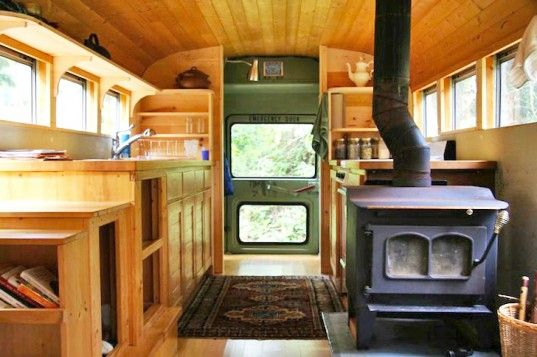 Clunky Old School Bus is Converted into a Sweet Earthy Home With a Wood-fired Stove | Inhabitat - Sustainable Design Innovation, Eco Architecture, Green Building