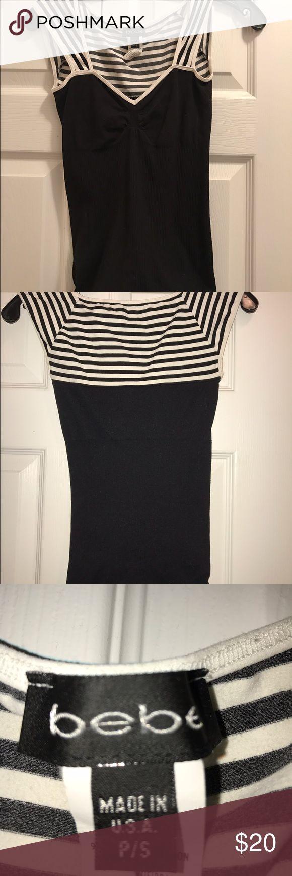 Bebe Bodycon Top Striped Bebe Tshirt Body Con Top bebe Tops Tees - Short Sleeve