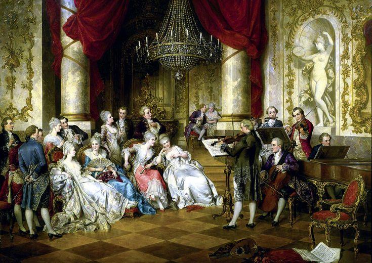 Schilderij - Van de cyclus * * Gallant eeuw - Dames ziel met strijkers vergelijkbaar ......: ledi_oks