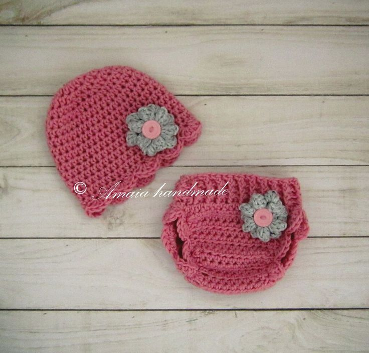 Diaper cover and hat - Crochet diaper cover set for Baby girl for Newborn to 12 Months, Merino wool, Great as an Baby shower gift! by Amaiahandmade on Etsy