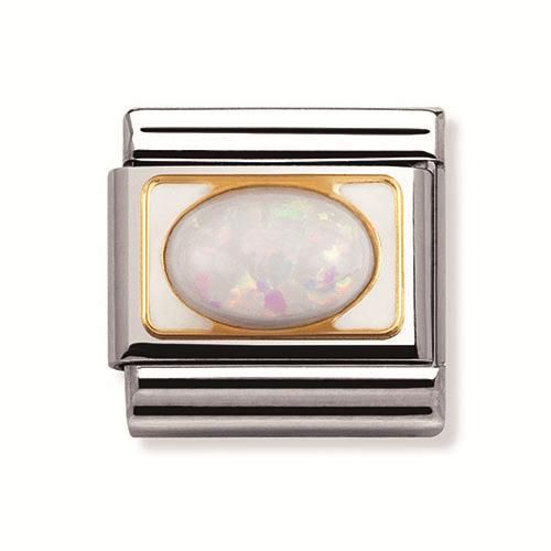 Nomination Stainless Steel and 18ct Gold White Opal Oval Charm.