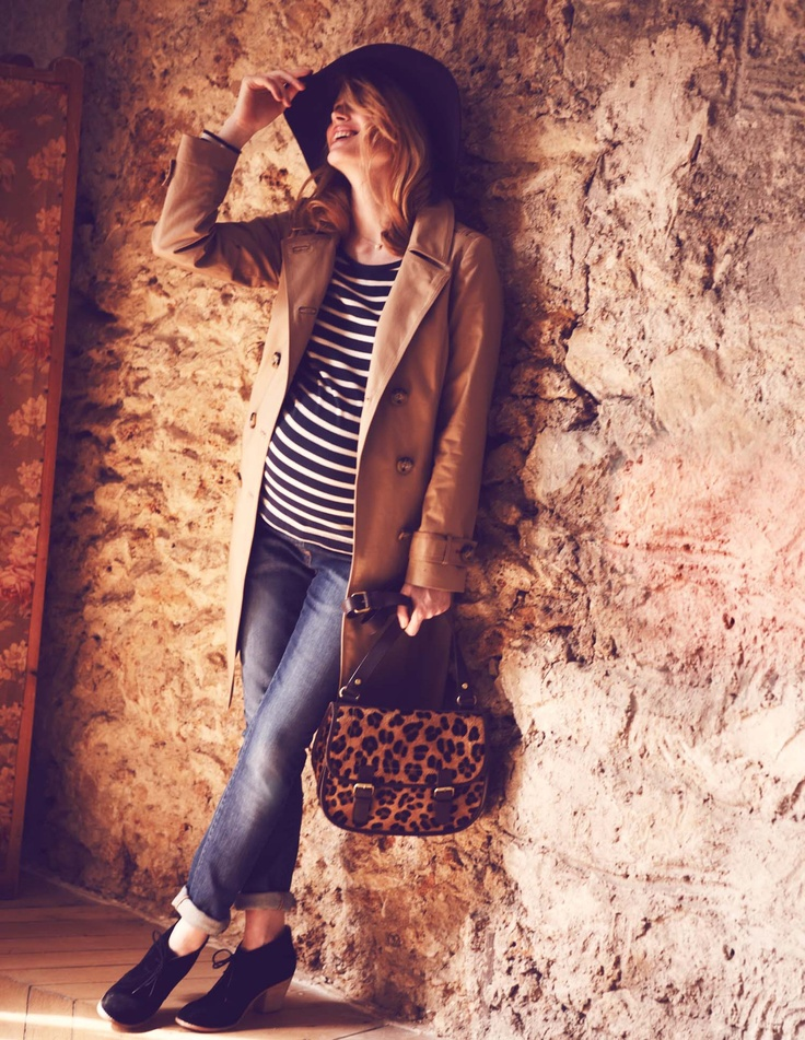 striped tee + cuffed denims + trench + hat + ankle boots. classic. throw in a leopard print bag for a touch of playful.