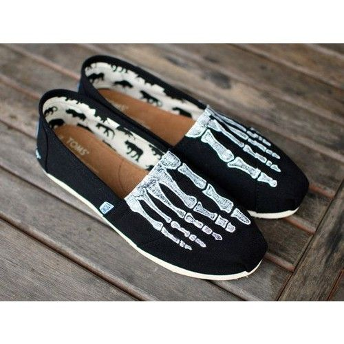 Custom Hand Painted TOMS Skeleton X-ray Boney feet on Black Canvas Classic TOMS Shoes Customizable featuring polyvore shoes