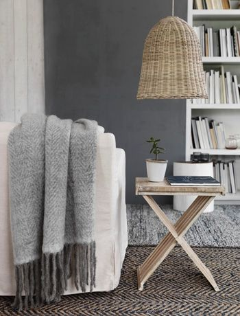 Cosy living room with neutral colours and natural textures