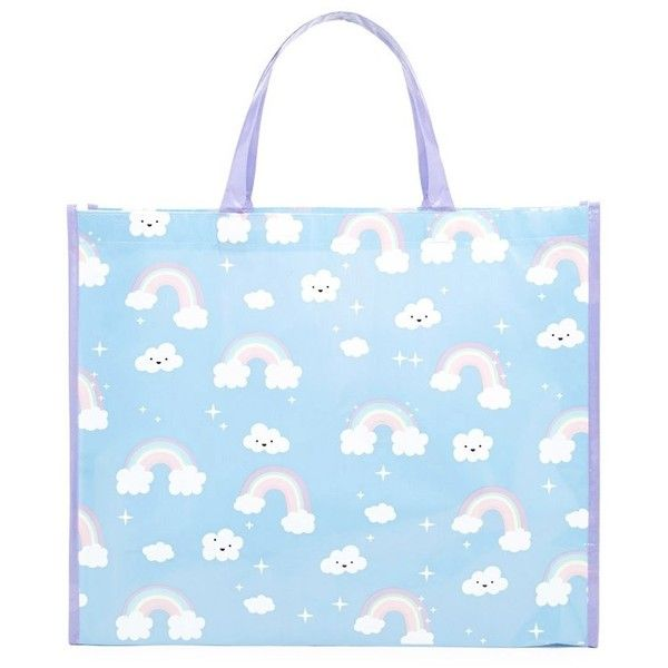 Forever21 Rainbow Print Tote Bag (170 RUB) ❤ liked on Polyvore featuring bags, handbags, tote bags, shopper tote, tote bag purse, forever 21 handbags, tote handbags and blue tote