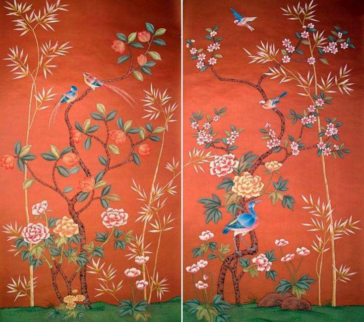 g+w collection :: chinoiserie kenzaburo panels, tangerine orange