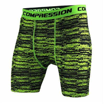 HV Men's Thigh Boxer Shorts Black/Green Static Compression MMA Underwear