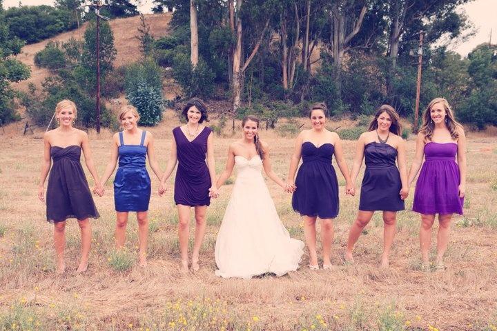 Mismatched bridesmaid dresses: Wedding Inspiration, Wedding Photography, Photo Ideas, Wedding Ideas, Bridesmaid Dresses, Colour Bridesmaid, Bridesmaids Dresses, Bridesmaid Ideas, Photography Ideas