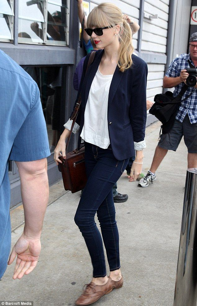 Doing the rounds: Earlier in the day Taylor was seen visiting Nova radio station to do an interview