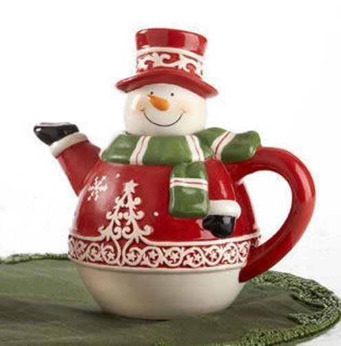 snowman 2 cup ceramic holiday teapot tea pot new - Santa Snowman 2