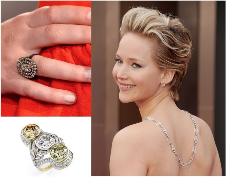 9. Jennifer Lawrence wore jewelry by Neil Lane value at a total of $3.5 million. The Art Deco style rock crystal and 100-carat diamond necklace draped down her back is worth $2 million, her 10-carat diamond stud earrings are $500,000, her colored diamond and platinum ring are $1 million. The value of the second vintage diamond ring was not reported, but could be estimated at $100,000.