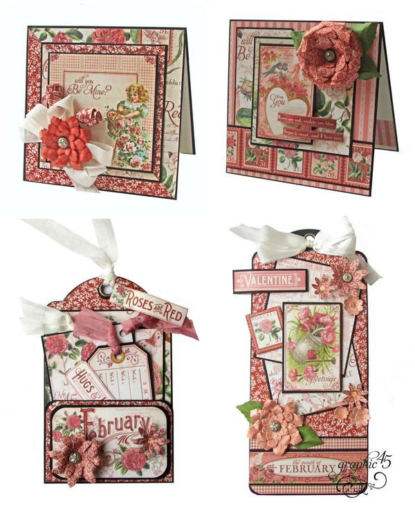 Graphic 45 Presents a February Time to Flourish 2 Tags + 2 Cards Project Sheet