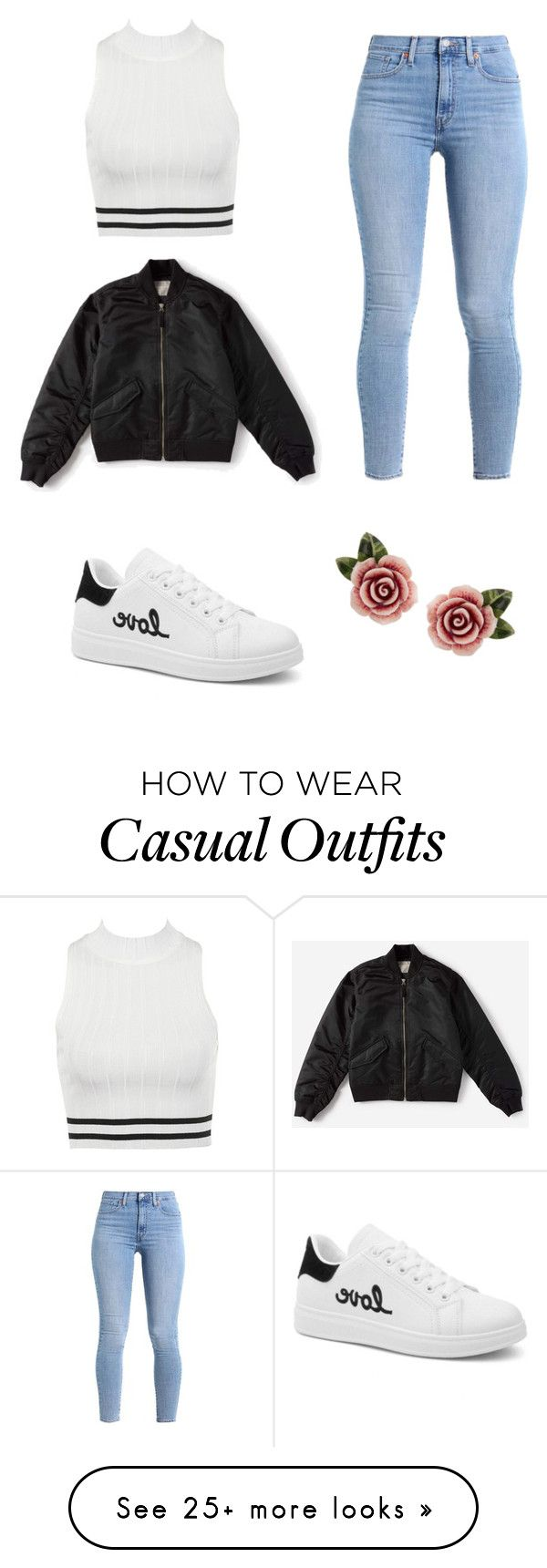 """Black and White Casual Outfit"" by sofiaisolda on Polyvore featuring Levi's, Everlane and Dolce&Gabbana"
